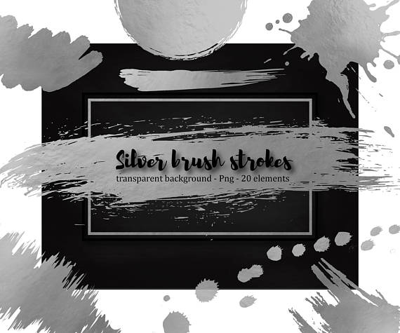 Brush clipart splash. Foil silver strokes paint