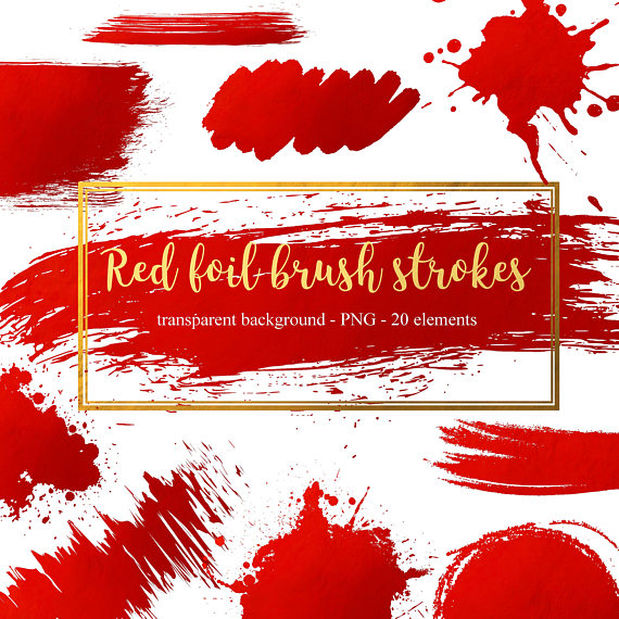 Foil strokes red sparkle. Brush clipart splash