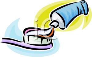 Toothpaste squeezing onto a. Brush clipart tooth paste