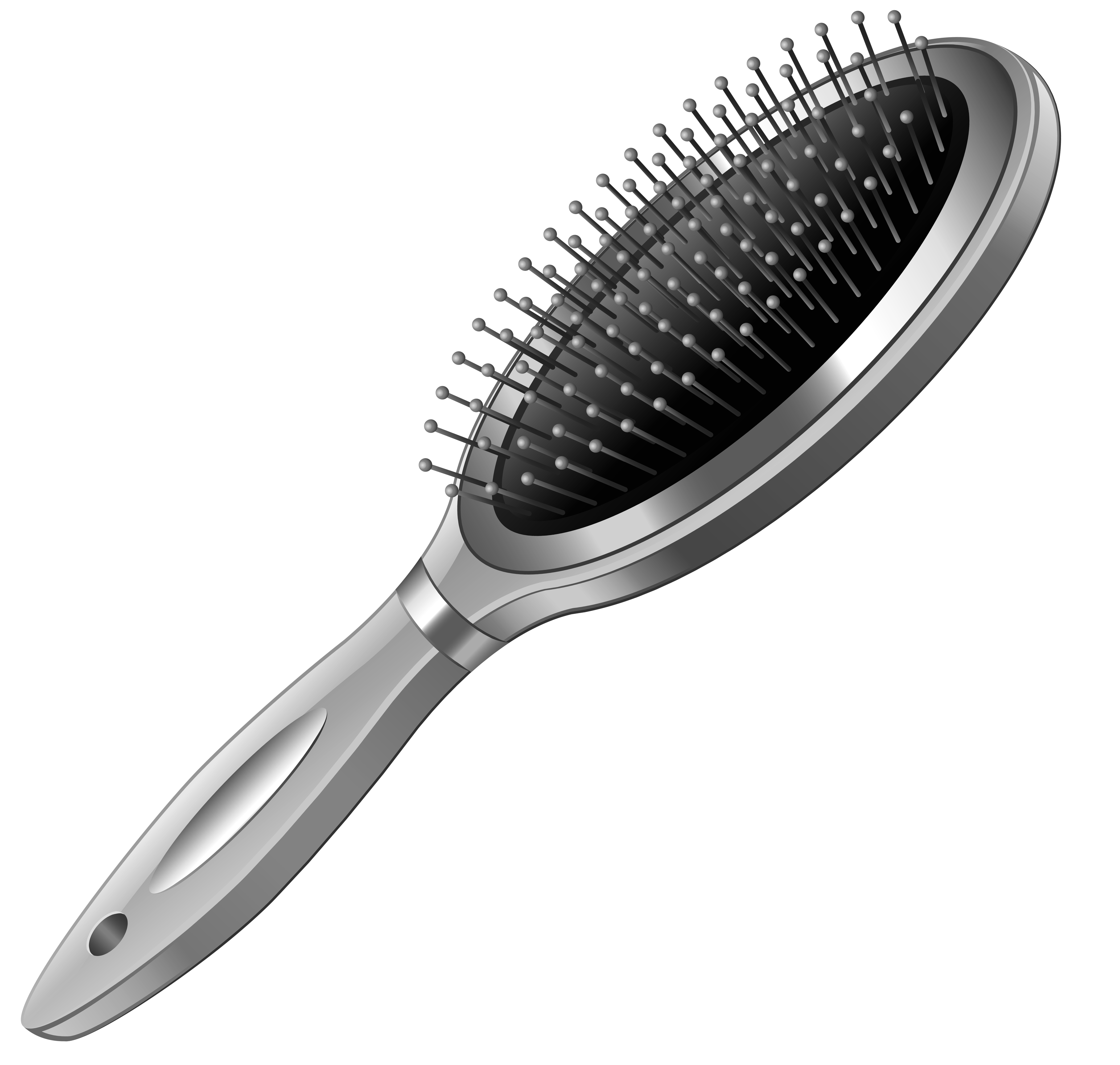 Silver hairbrush png picture. Shampoo clipart combclip