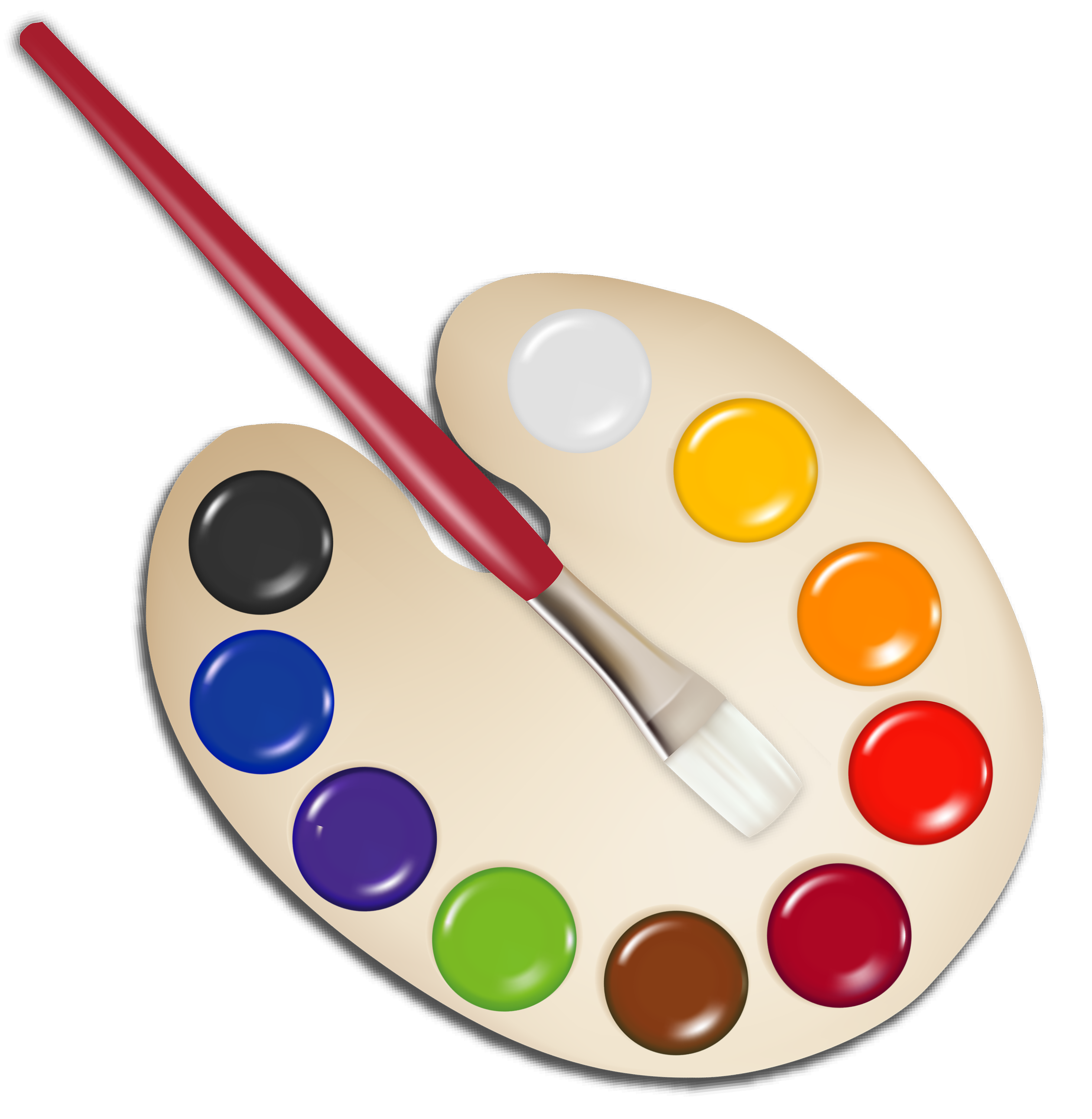 Palette with paint brush. Dot clipart clear background