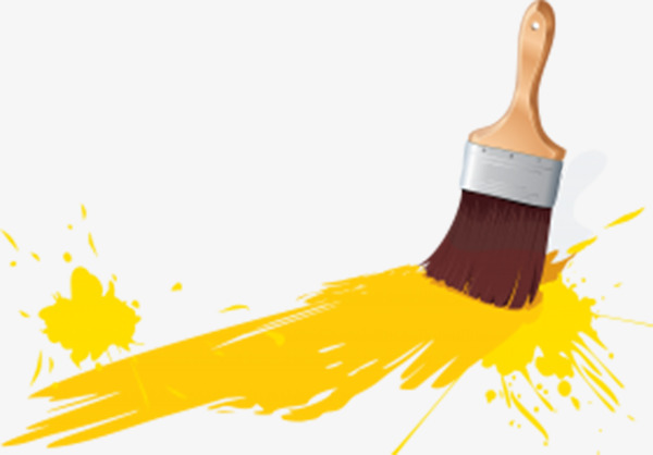 Yellow paint wood png. Brush clipart wall
