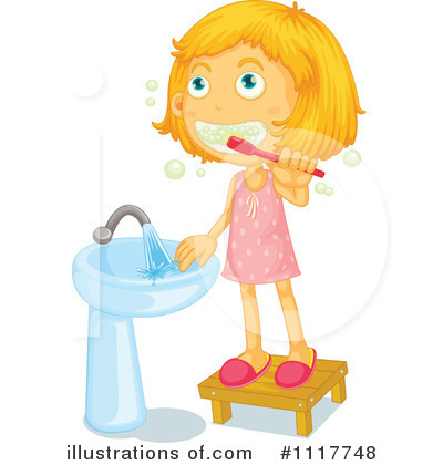 Brush clipart washing brush. Girl teeth station