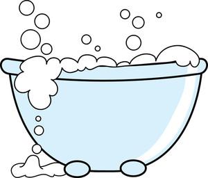 Bathtub with bubbles . Tub clipart bubble bath