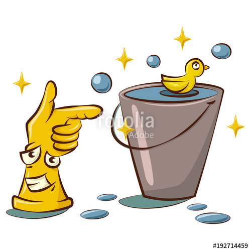 Cute yellow rubber gloves. Bucket clipart bubble