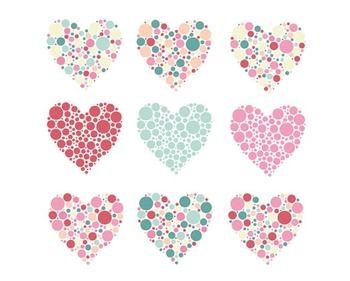 Valentines day hearts set. Bubble clipart heart