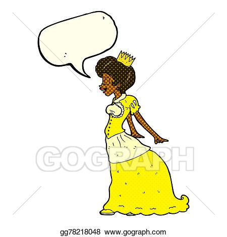 Bubble clipart illustration. Stock cartoon princess with