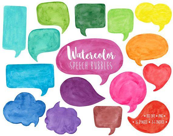Speech watercolor clip art. Bubble clipart illustration