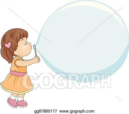 Vector stock kid girl. Bubble clipart illustration