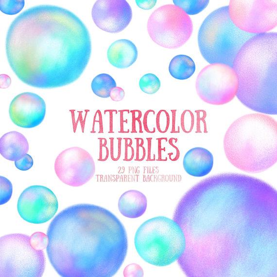 bubbles clipart watercolor