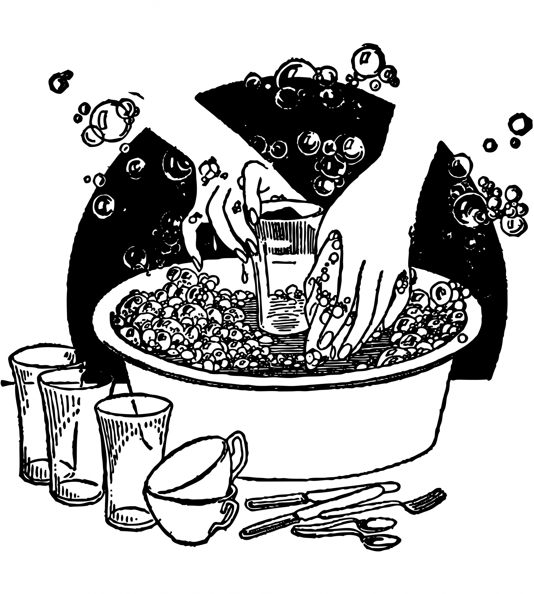 Washing vintage free stock. Dishes clipart