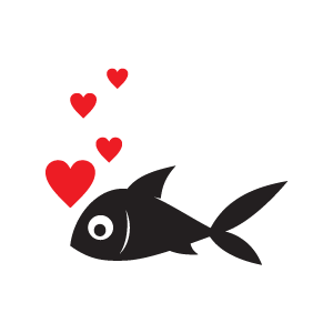 Heart black from a. Bubbles clipart fish