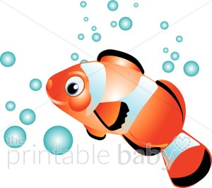 Clownfish in water creatures. Bubbles clipart fish