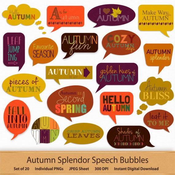 Bubbles clipart printable. Autumn digital speech stickers