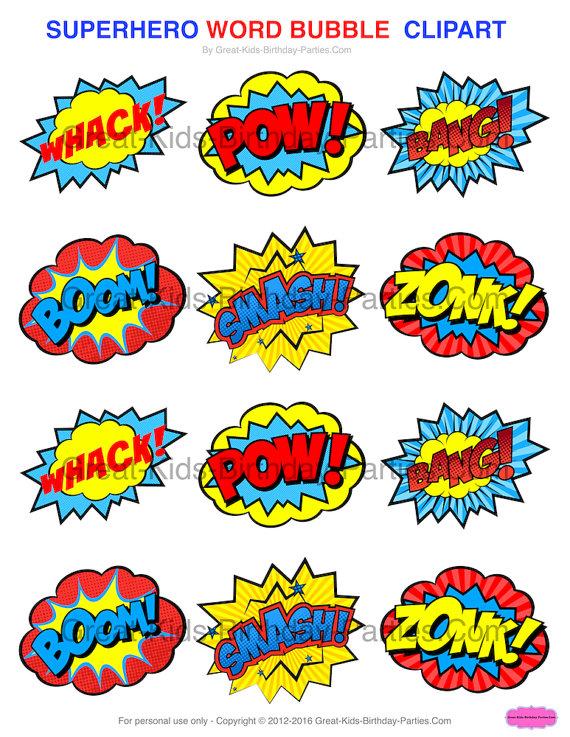 Bubbles clipart printable. Superhero stickers printables
