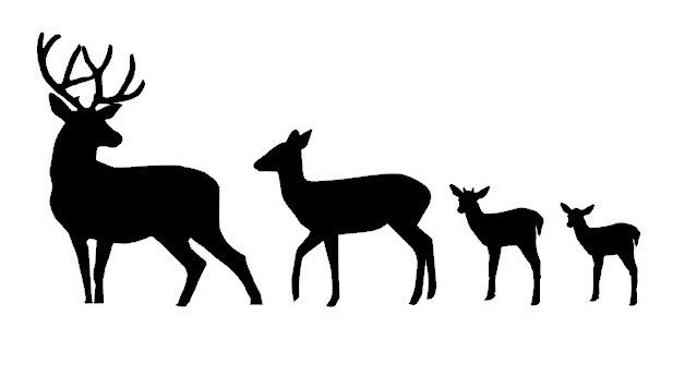 Clipart reindeer family. Baby deer silhouette clip