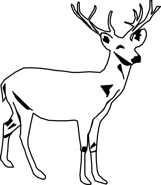 Deer panda free images. Buck clipart black and white