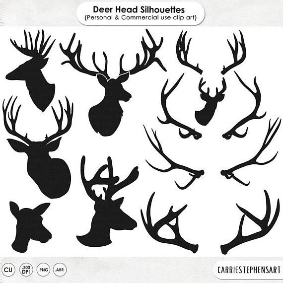 Silhouette clip art line. Aztec clipart deer head