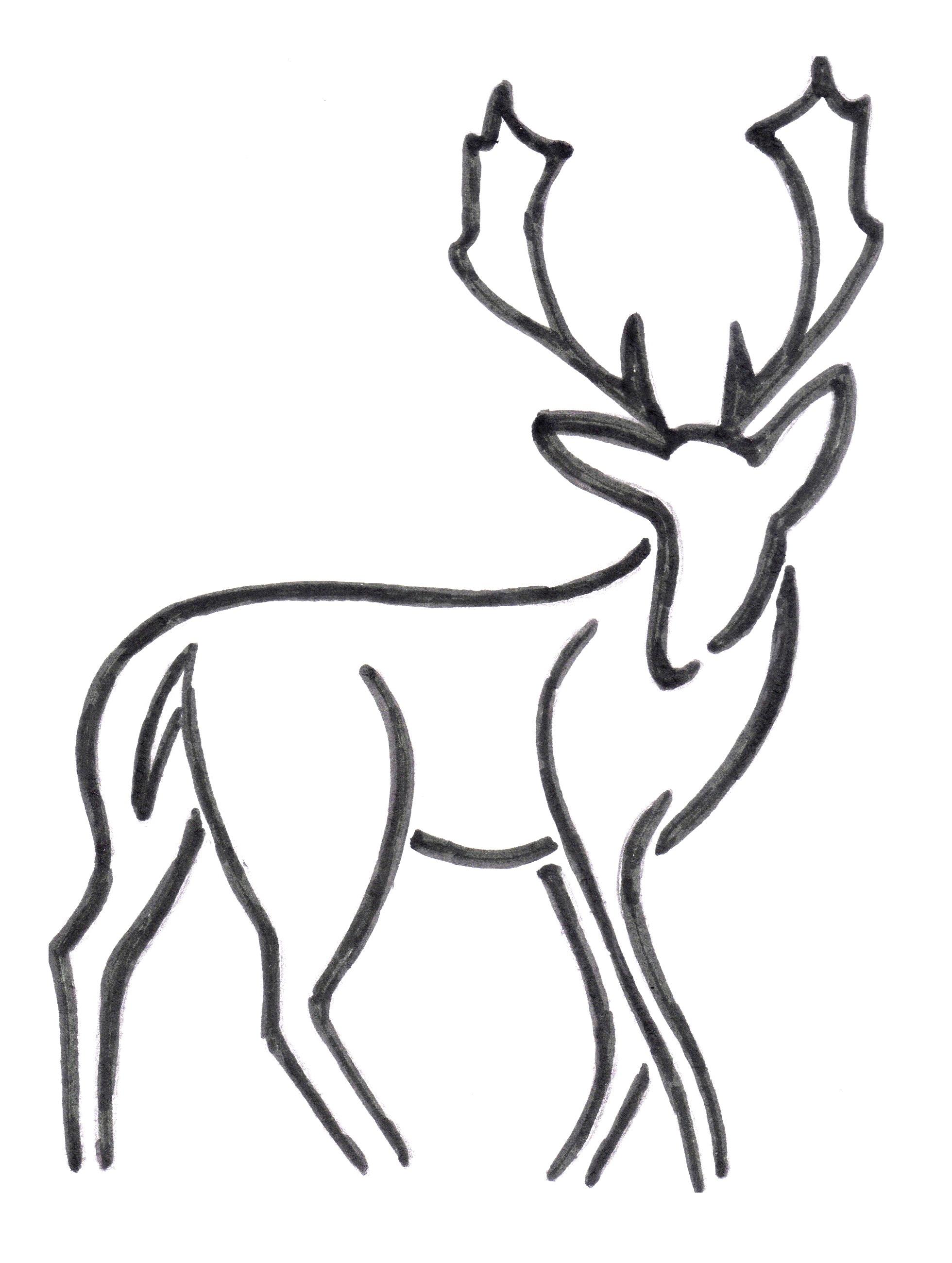 Antler clipart easy. Buck deer drawing at