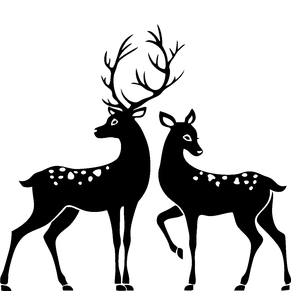 Deer silhouette buck and. Families clipart reindeer