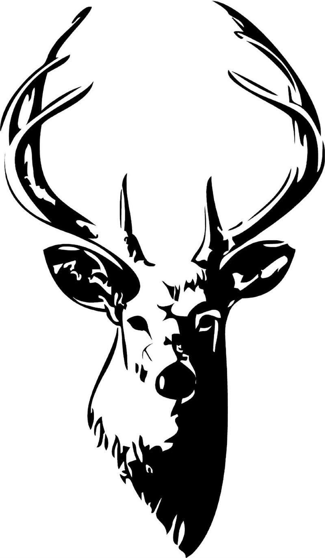 Head vinyl wall art. Deer clipart buck