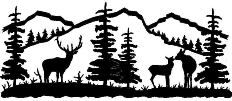 Elk clipart scene. Wildlife clip art silhouettes