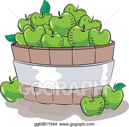 Vector art drawing gg. Bucket clipart apple