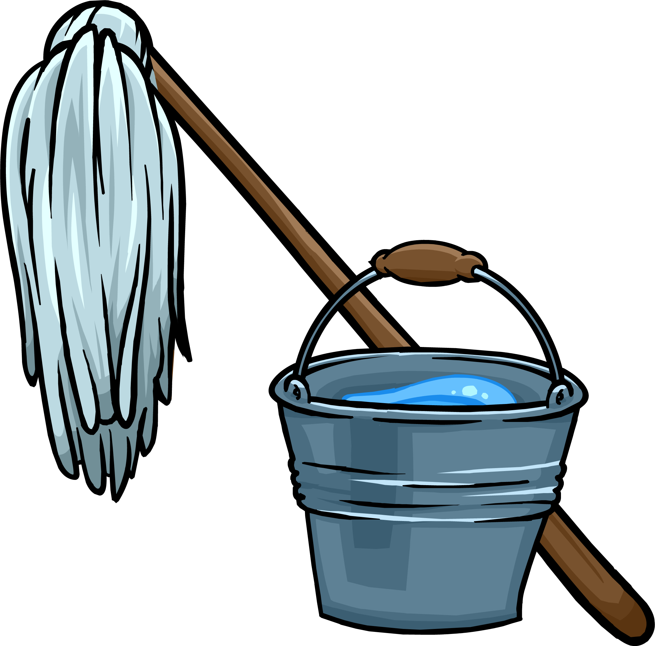 Bucket clipart balde. Mop and club penguin