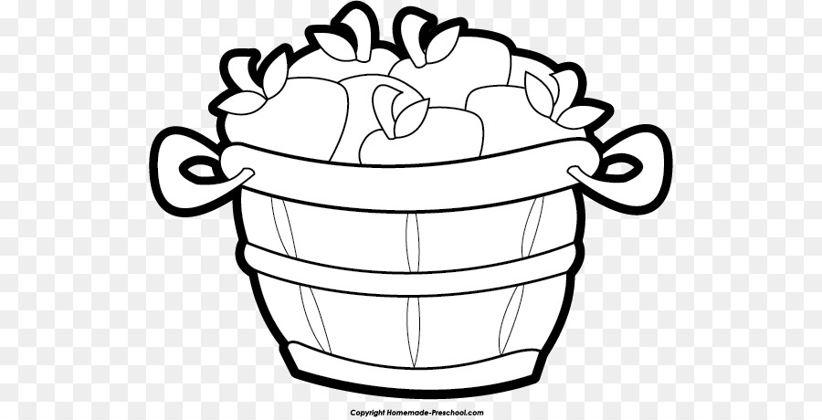 The basket of apples. Bucket clipart black and white