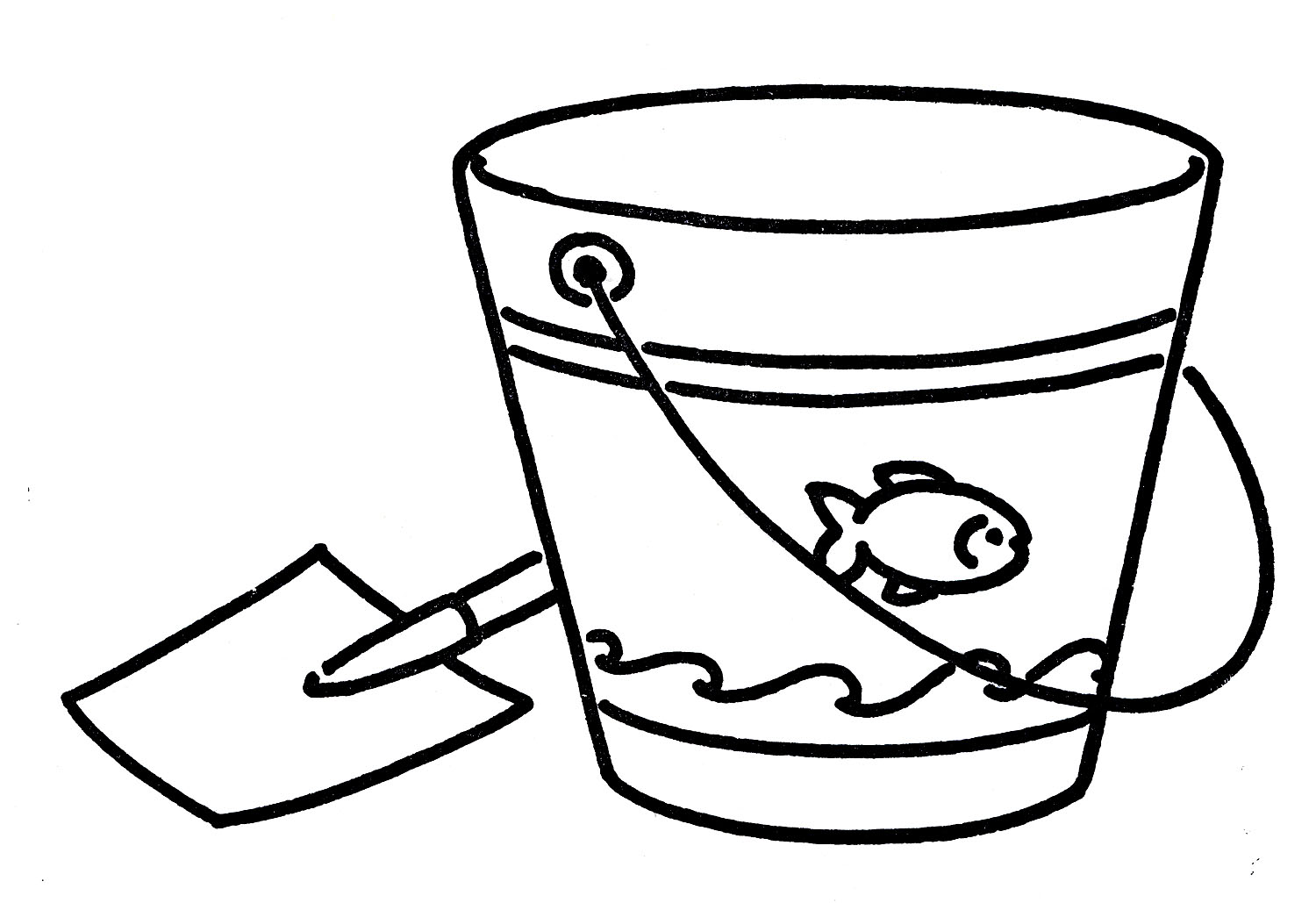 Sand . Bucket clipart black and white
