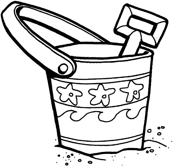It is a graphic of Challenger Sand Bucket Coloring Page