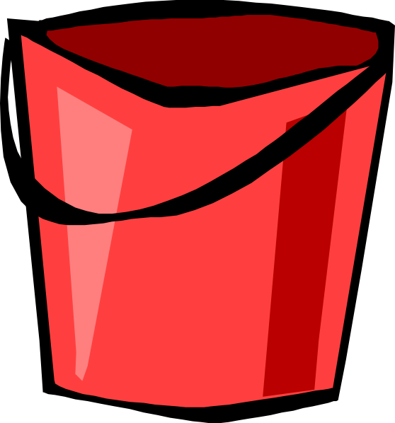 Red clip art at. Bucket clipart container