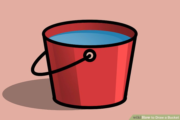 How to a steps. Bucket clipart draw