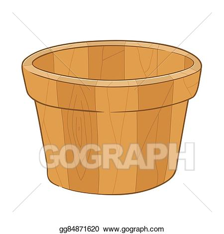 Bucket clipart empty. Eps illustration wooden vector