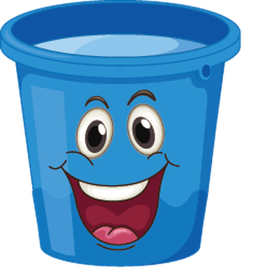 Buckets with faces blue. Bucket clipart face