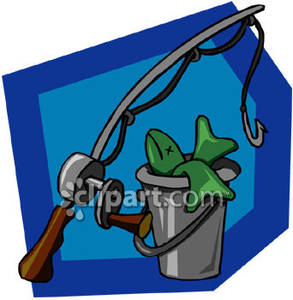 A pole and of. Bucket clipart fishing