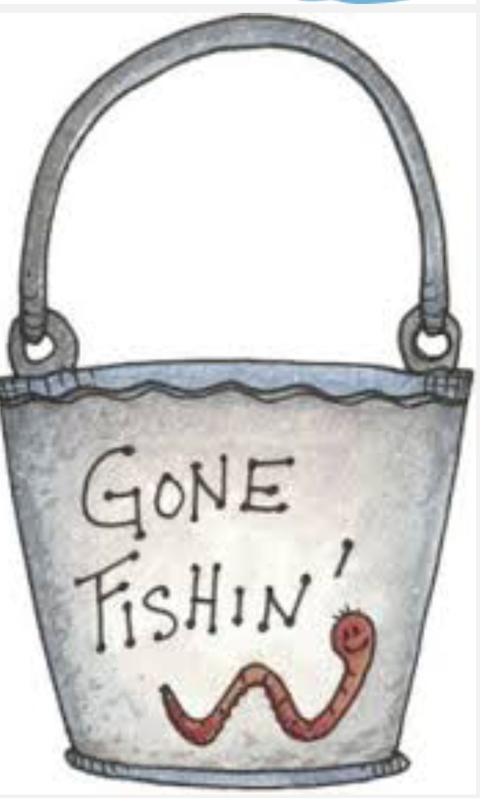 Gone worm painted rock. Bucket clipart fishing