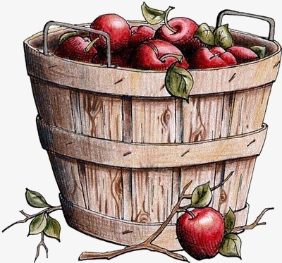 Bucket clipart fruit. Apple barrel creative red