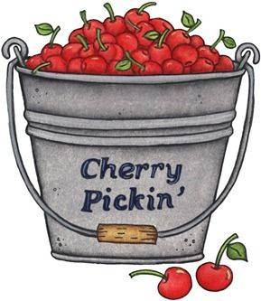 Imagens decoupage cherry picking. Bucket clipart fruit