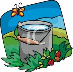 Bucket clipart garden. A of water in
