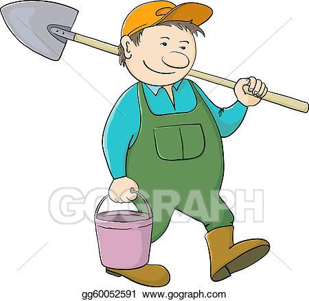 Vector art man gardener. Bucket clipart garden