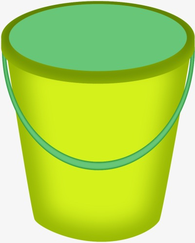 Blue hand painted cartoon. Bucket clipart green bucket