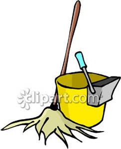 Bucket clipart mop bucket. And yellow royalty free