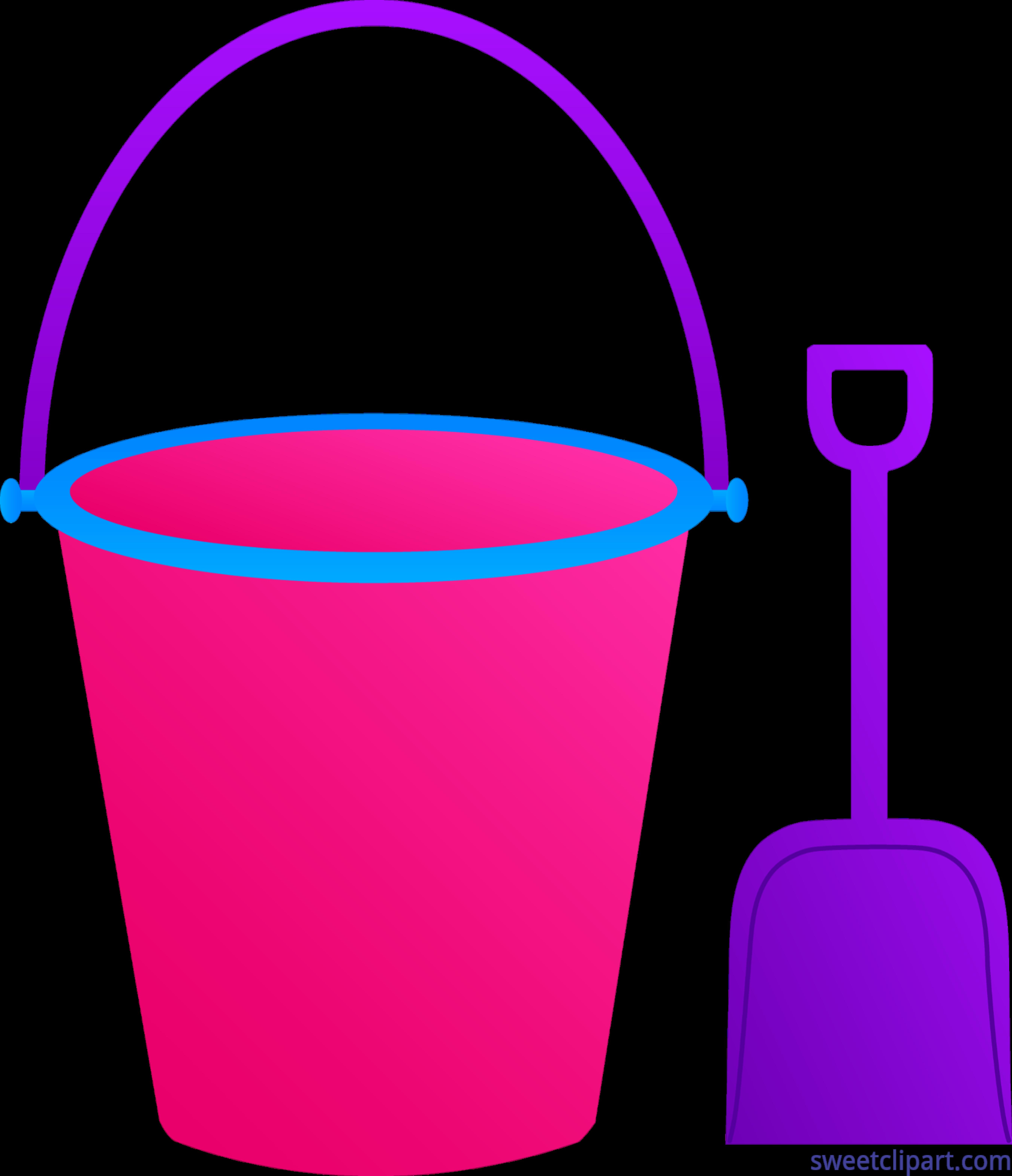 Bucket clipart pail. Shovel pink purple clip
