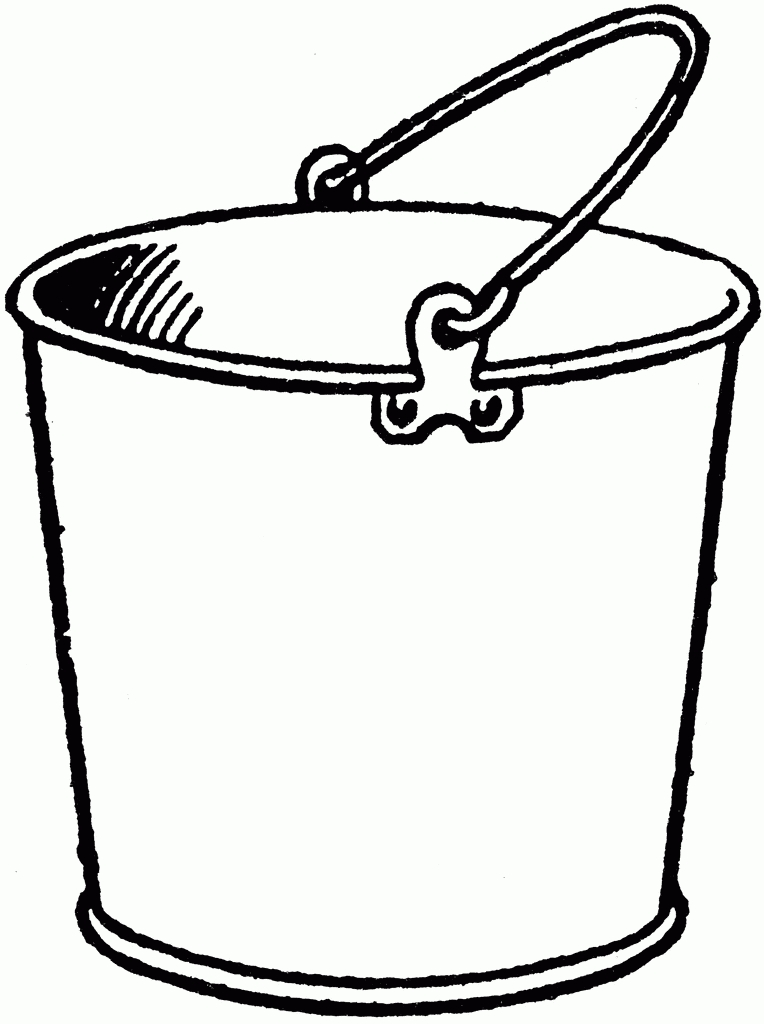 Black and white letters. Bucket clipart pail