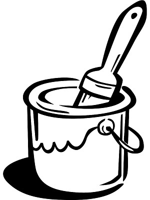 Bucket clipart paint brush. Black and white letters