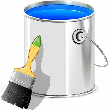 Bucket clipart paint brush. Free vector download for