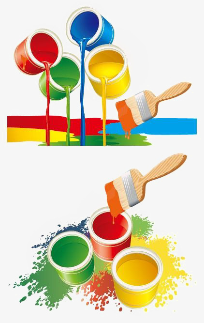 Bucket clipart paint brush. Color png image and