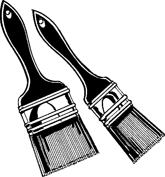 Free paintbrush black and. Bucket clipart paint brush