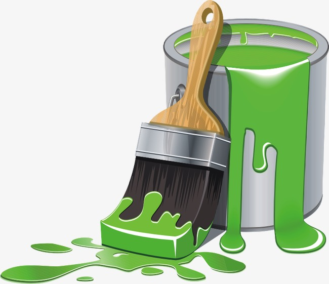 Hand painted png image. Bucket clipart paint brush
